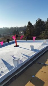 After picture of a flat roof recovery.